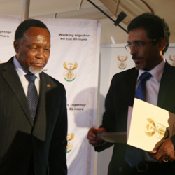 Deputy President Kgalema Motlanthe and Economic Development Minister Ibrahim Patel at the Youth Accord signing ceremony