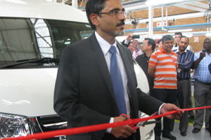 Economic Development Minister Ebrahim Patel opens a new minibus assembly plant in the East Rand