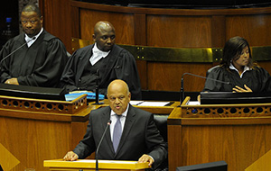 Minister of Finance Pravin Gordhan delivers the Budget speech in Parliament, Cape Town. (Photo: GCIS)