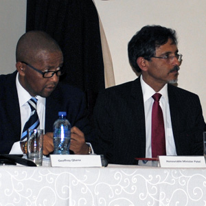 CEO Geoffrey Qhena and Minister of Economic Development Ebrahim Patel take questions from the floor