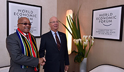 President Jacob Zuma meets WEF founder and executive chairman Klaus Schwab in Davos, Switzerland, 21 January 2016