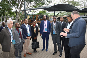 The IDC delegation is welcomed on arrival at Quality Steel and given an overview of the Mbombela-based company by CEO Andre Potgieter. (Photo: Elias Nkabinde)