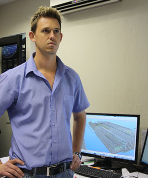 In the drawing room, state-of-the-art design software enables Engineer Petros Barkowitz to create 3D-rendered models of any mechanical plant, civil or steel structure. (Photo: Elias Nkabinde)