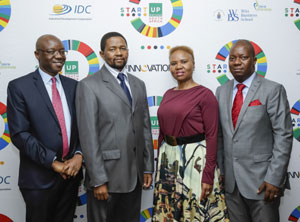 Wits University Deputy Vice-Chancellor Tawana Kupe, IDC Chief Executive Geoffrey Qhena, Small Business Development Minister Lindiwe Zulu and Innovation Hub CEO McLean Sibanda at the launch of Startup Nations South Africa at the Wits Business School in Johannesburg.