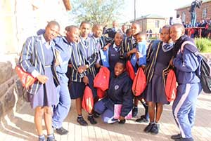 Some of the over 11 000 girls from IDC-adopted schools who will benefit from the donation of sanitary towels through IDC's participation in the Trek4Mandela Challenge 2016.